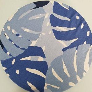Capa de tecido costela de adao azul fundo branco