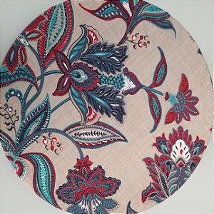 Capa de tecido flores abstratas vermelha e azul fundo bege