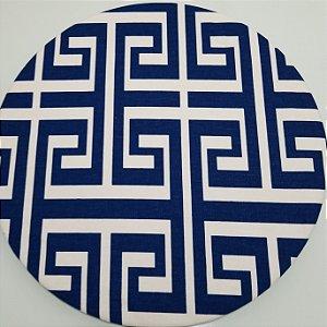 Capa de tecido labirinto azul marinho com branco