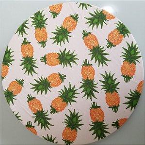 Capa de tecido fundo branco abacaxi pequeno