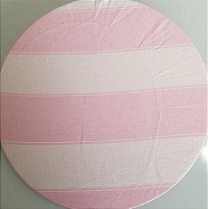 Capa de tecido listrado rosa bebe com branco