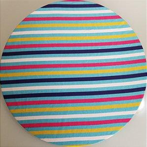 Capa de tecido  listrado rosa amarelo branco e azul