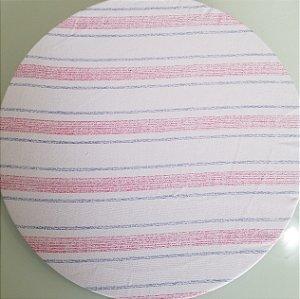 Capa de tecido listras finas e grossas azul e rosa com fundo branco