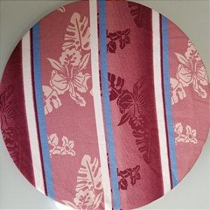 Capa de tecido flores fundo rosa e roxo com listras azul e branco