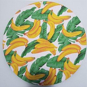 Capa de tecido banana com plantas fundo branco