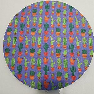 Capa de tecido vasos com cactos fundo azul