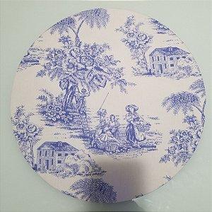 Capa de tecido fazenda azul e branco