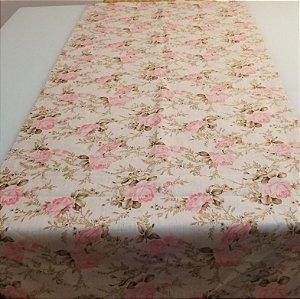 Caminho de mesa fundo bege com rosas