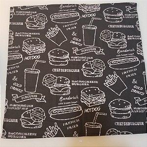 Guardanapo hamburguer preto e branco