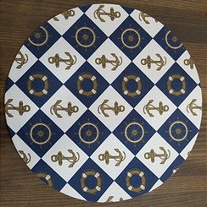 Capa de tecido ancôra e boia quadriculado branco e azul