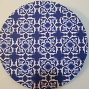 Capa de tecido mosaico azul