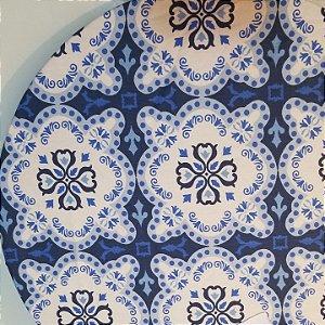 Capa de tecido mosaico branco com azul