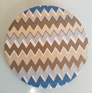 Capa de tecido chevron azul marrom e bege