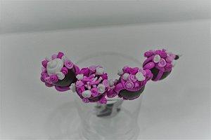 Kit 4  colher de sobremesa  bule florido rosa