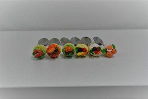 kit 6  colher de sobremesa salada de frutas
