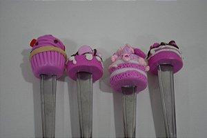 colher de sobremesa  bolos rosa com recheios