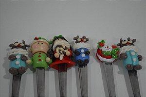 kit 6 colher de sobremesa natal colorida com bonecos