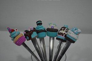 kit  6 colher de sobremesa  bolos azul