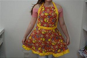 Avental florido com borda amarela