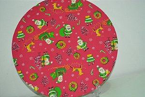 capa de tecido para sousplat fundo vermelho  natal