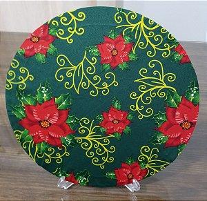 capa sousplat natal fundo verde com rosas vermelhas e folhas verdes