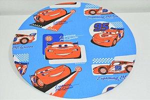 Capa de sousplat fundo azul carros de corrida