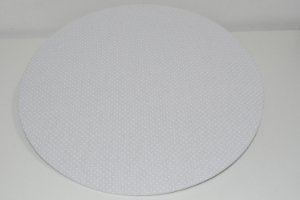 capa de sousplat bolinhas brancas