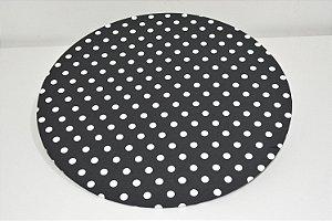 capa de sousplat fundo preto com bolinhas brancas