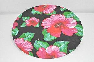 capa de sousplat preta com flores