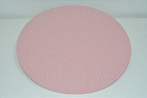 capa sousplat fundo rosa com bolinhas brancas