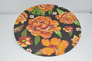 capa sousplat fundo preto com flores laranjas