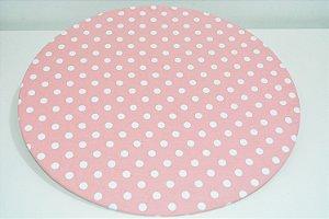 capa sousplat fundo rosa claro com bolinhas grandes brancas
