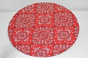 capa sousplat bandana vermelho e branco