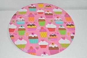capa sousplat fundo rosa com capcakes