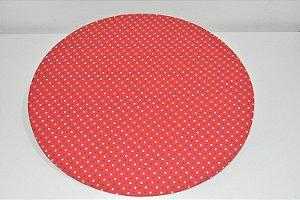 capa sousplat fundo vermelho com bolinhas brancas e pretas