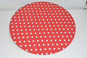 capa sousplat fundo vermelho com bolinhas grandes brancas