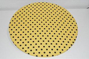 capa sousplat fundo amarelo com bolinhas pretas