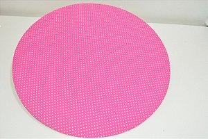 capa sousplat fundo rosa com bolinha pequenas rosa