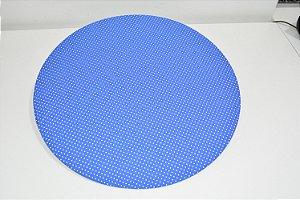 capa sousplat fundo azul com bolinhas pequenas brancas