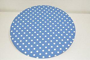 capa sousplat fundo azul com bolinhas brancas