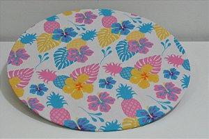 capa sousplat fundo branco com abacaxis coloridos