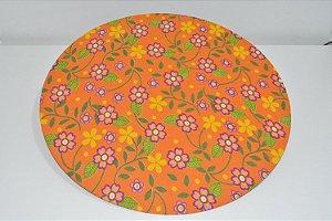 capa sousplat fundo laranja com florzinhas