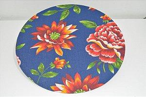 capa sousplat fundo azul escuro com flores vermelhas
