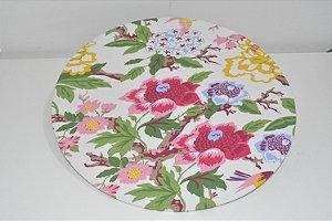 capa sousplat fundo branco com flores e passarinho