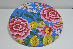 capa sousplat fundo azul com flores rosa com vermelho