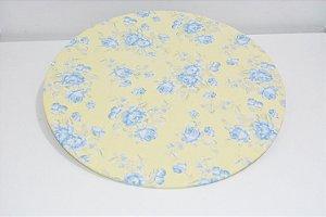 capa sousplat fundo amarelo claro com flores azuis