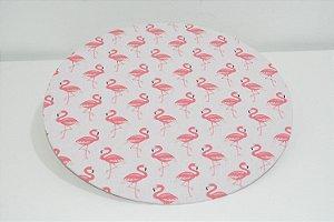 capa de sousplat fundo rosa claro com flamingos