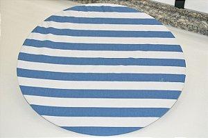 capa de sousplat azul com branco listrada