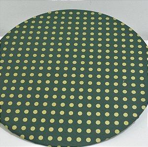 capa sousplat fundo verde com bolinhas douradas