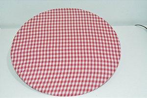 capa tecido tergal xadrez branco e vermelho
